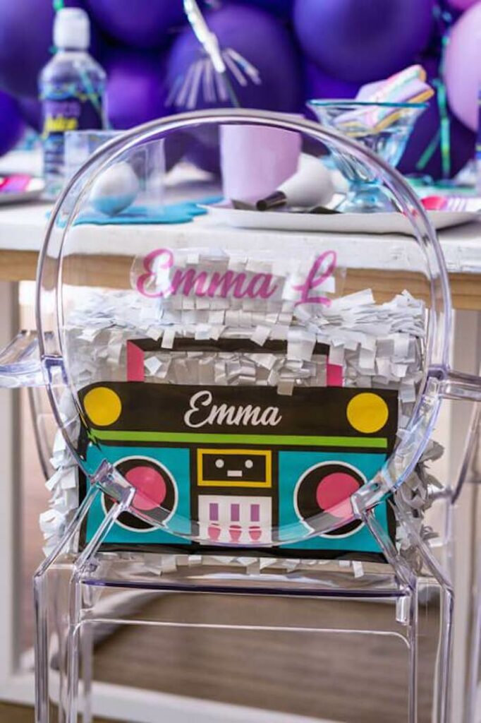 Personalized Boom Box Table Setting from a Groovy Disco Birthday Party on Kara's Party Ideas | KarasPartyIdeas.com