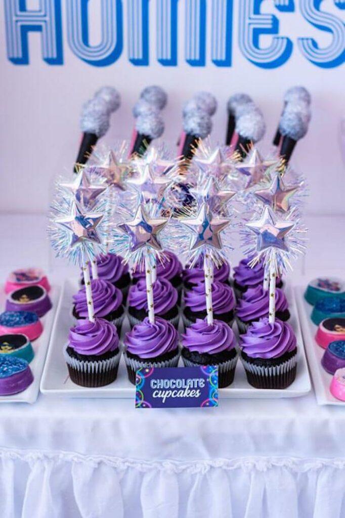 Groovy Star Cupcakes from a Groovy Disco Birthday Party on Kara's Party Ideas | KarasPartyIdeas.com