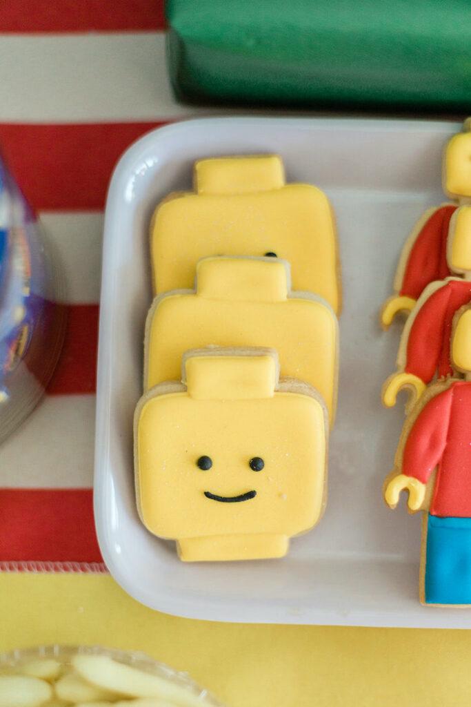 Lego Face Cookies from a Lego Birthday Party on Kara's Party Ideas   KarasPartyIdeas.com