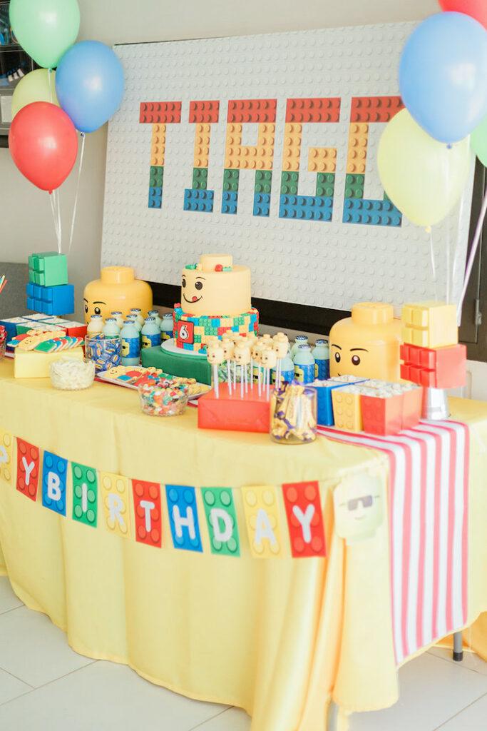 Lego Themed Dessert Table from a Lego Birthday Party on Kara's Party Ideas   KarasPartyIdeas.com