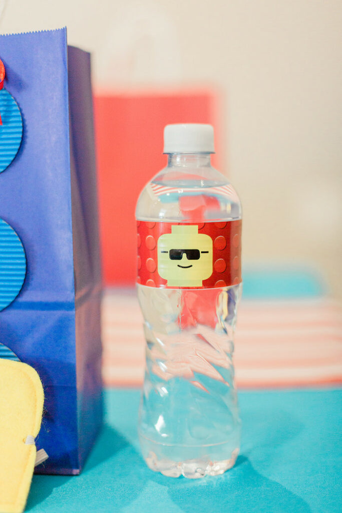 Lego-labeled Water Bottle from a Lego Birthday Party on Kara's Party Ideas   KarasPartyIdeas.com
