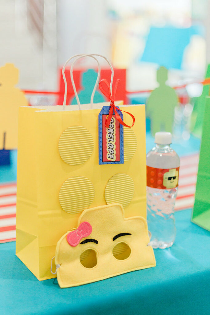 Lego Bag + Mask from a Lego Birthday Party on Kara's Party Ideas   KarasPartyIdeas.com