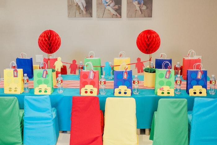 Lego Themed Kid Table from a Lego Birthday Party on Kara's Party Ideas   KarasPartyIdeas.com