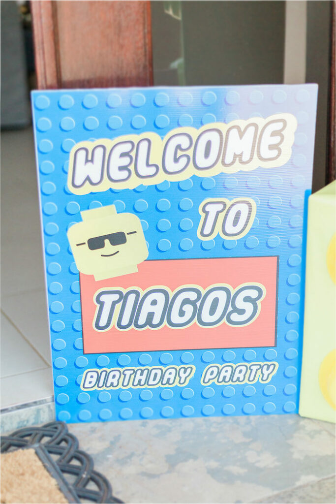 Lego Themed Welcome Sign from a Lego Birthday Party on Kara's Party Ideas   KarasPartyIdeas.com