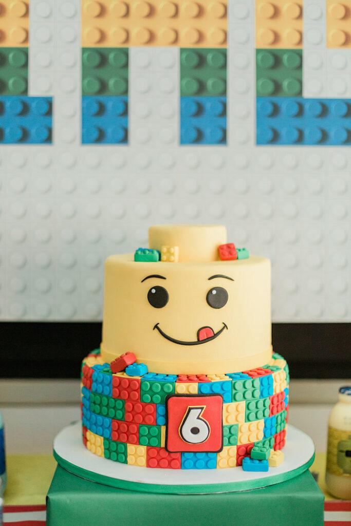 Lego Cake from a Lego Birthday Party on Kara's Party Ideas   KarasPartyIdeas.com