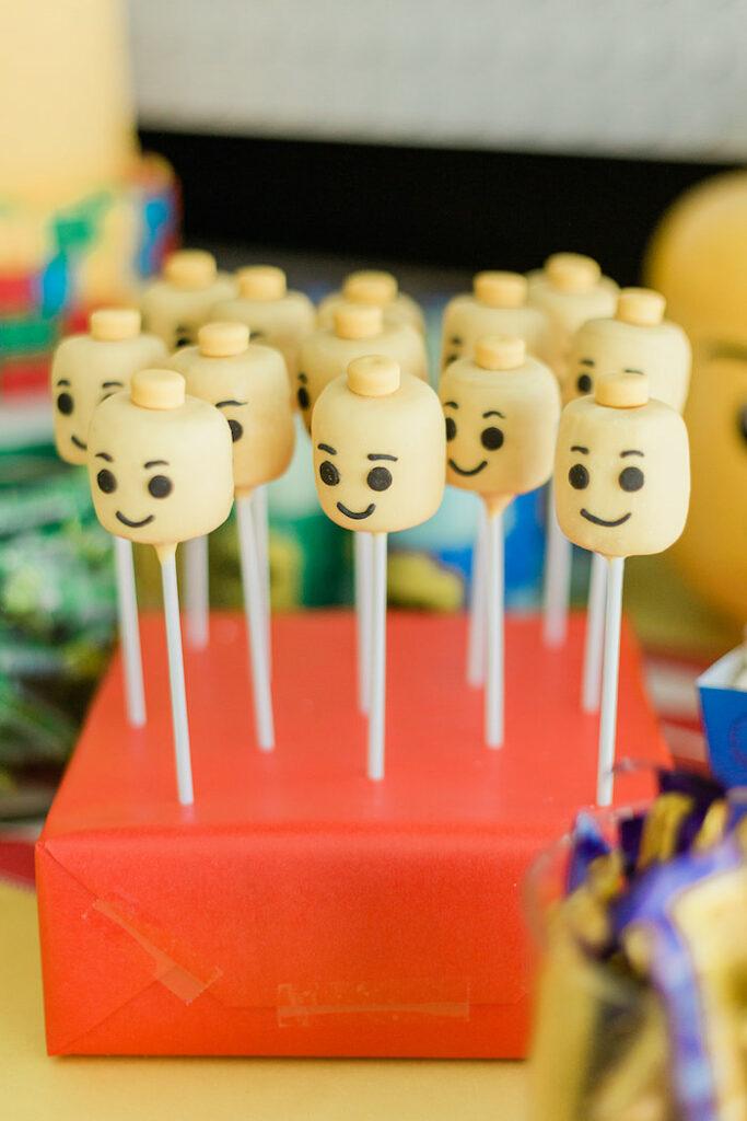 Lego Head Cake Pops from a Lego Birthday Party on Kara's Party Ideas   KarasPartyIdeas.com
