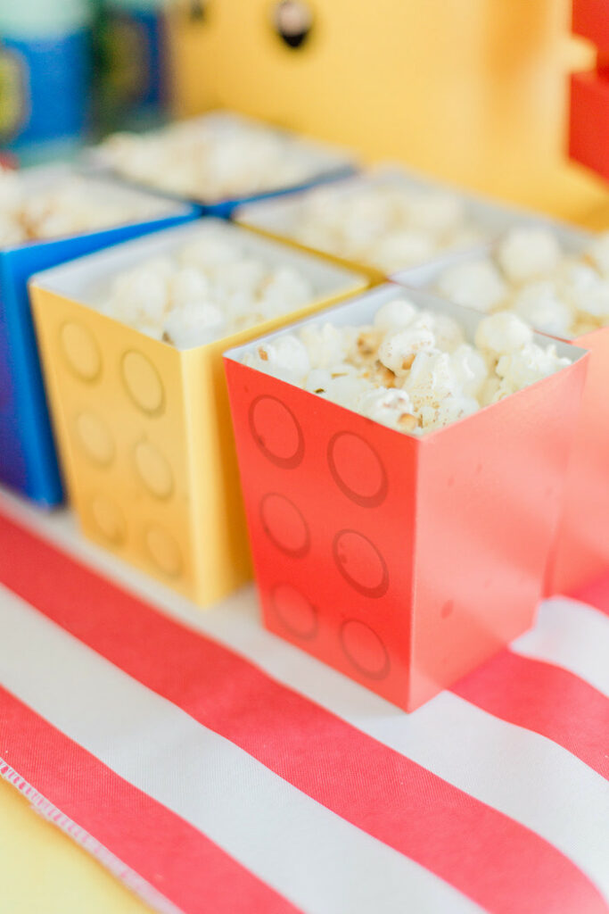 Lego Popcorn Boxes from a Lego Birthday Party on Kara's Party Ideas   KarasPartyIdeas.com