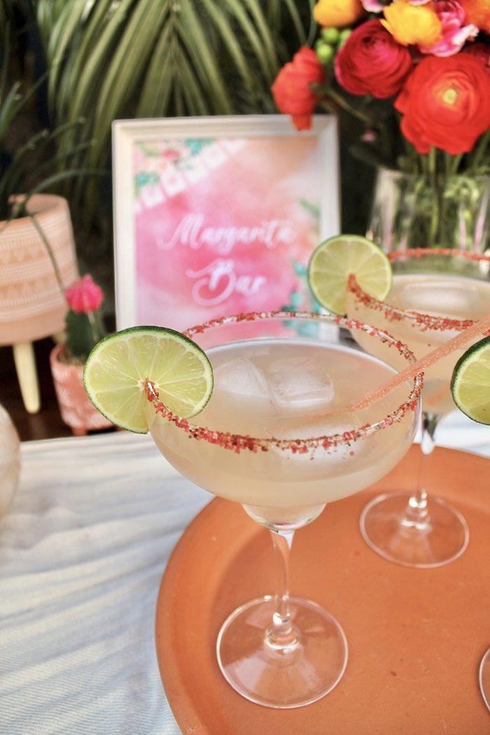 Margarita Glasses from a Tropical Palm Springs Fiesta on Kara's Party Ideas | KarasPartyIdeas.com