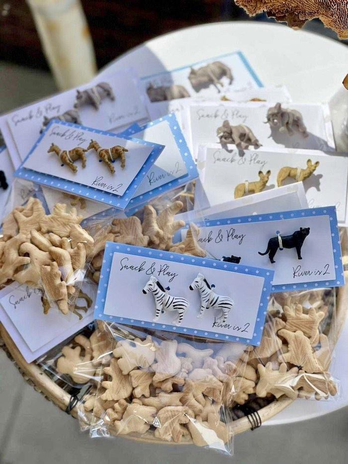 Snack & Play Animal Favors from a Adoption Favors from a Muted Boho Noah's Ark Party via Kara's Party Ideas | KarasPartyIdeas.com