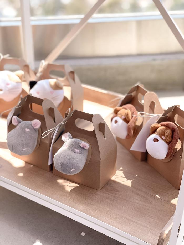 Plush Adoptable Animals from a Muted Boho Noah's Ark Party on Kara's Party Ideas | KarasPartyIdeas.com