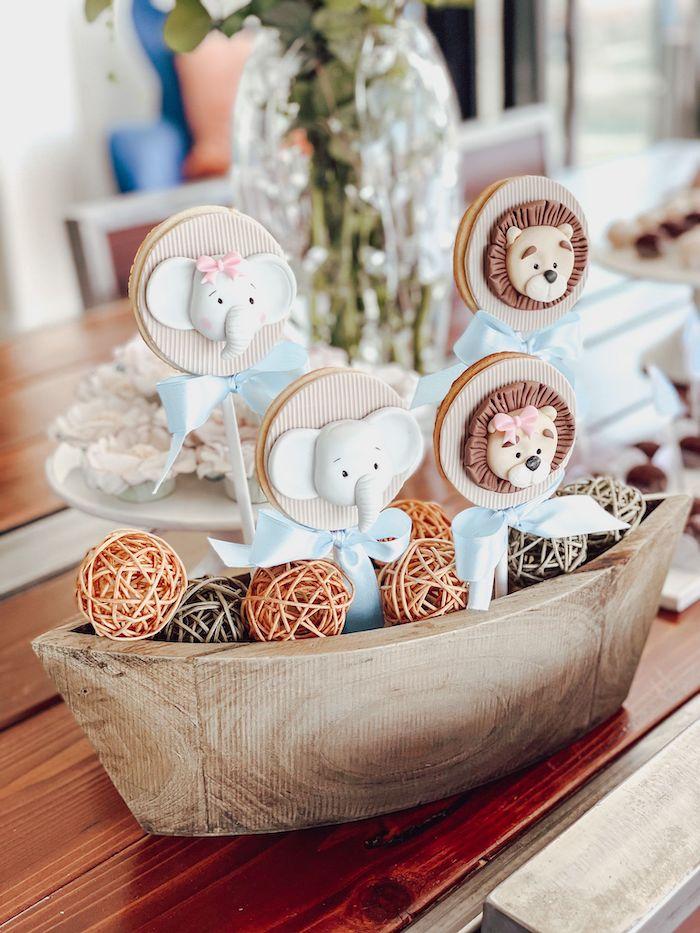 Noah's Ark Animal Cookie Pops from a Muted Boho Noah's Ark Party on Kara's Party Ideas | KarasPartyIdeas.com
