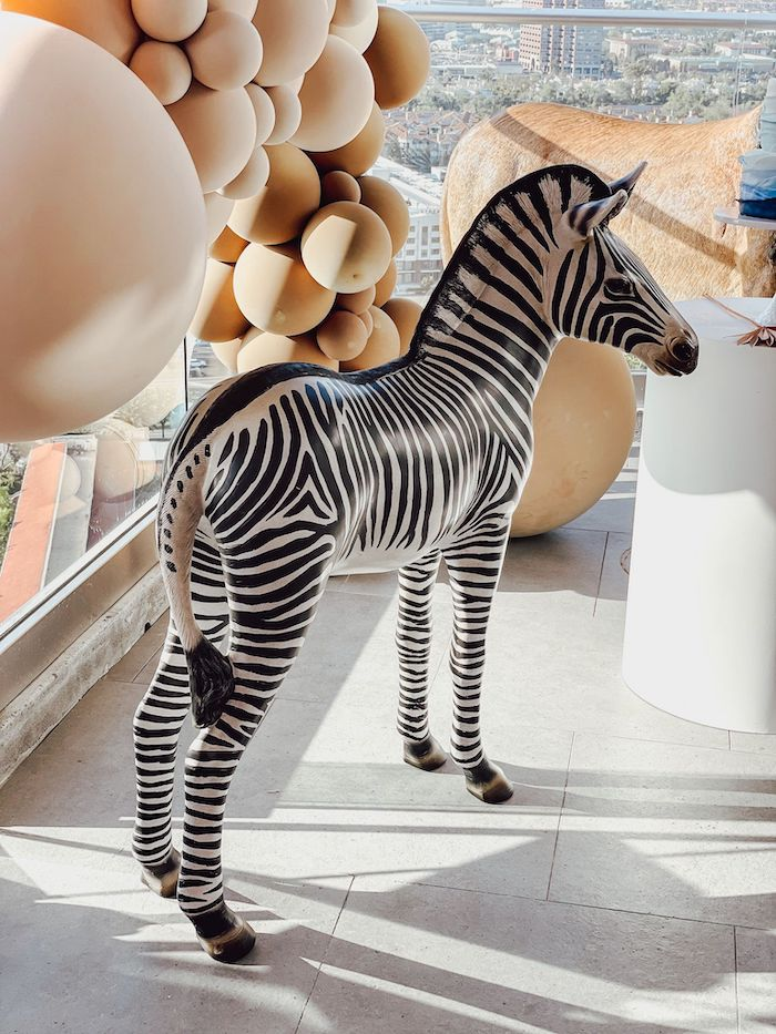 Zebra Prop from a Muted Boho Noah's Ark Party on Kara's Party Ideas | KarasPartyIdeas.com