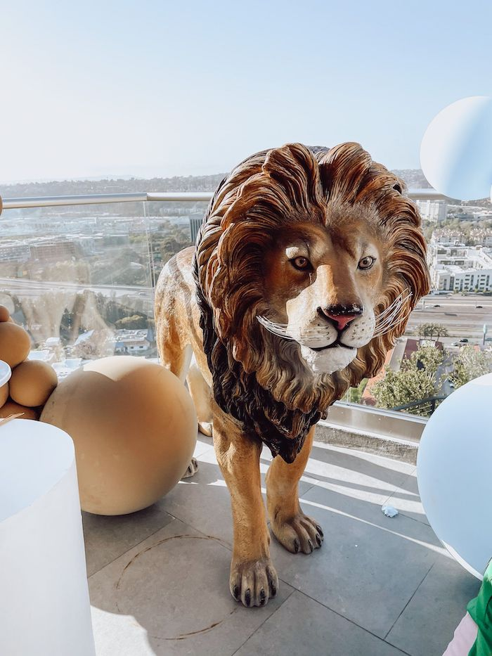 Lion Prop from a Muted Boho Noah's Ark Party on Kara's Party Ideas | KarasPartyIdeas.com
