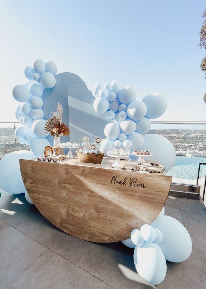 Noah's Ark Dessert Table from a Muted Boho Noah's Ark Party on Kara's Party Ideas | KarasPartyIdeas.com
