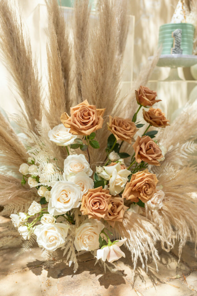 Boho Floral Arrangement from a Muted Boho Wild ONE Birthday Party on Kara's Party Ideas | KarasPartyIdeas.com