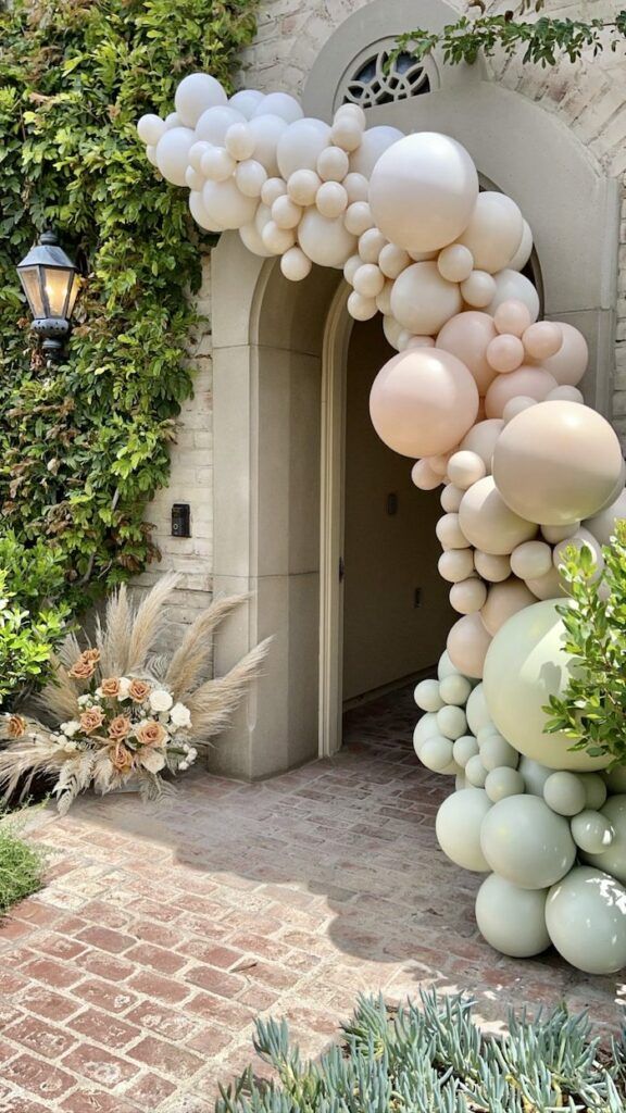Muted Balloon Garland + Entrance from a Muted Boho Wild ONE Birthday Party on Kara's Party Ideas | KarasPartyIdeas.com