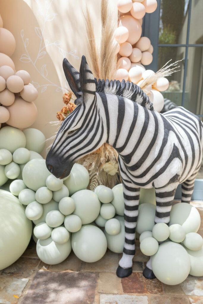Giant Zebra Prop from a Muted Boho Wild ONE Birthday Party on Kara's Party Ideas | KarasPartyIdeas.com