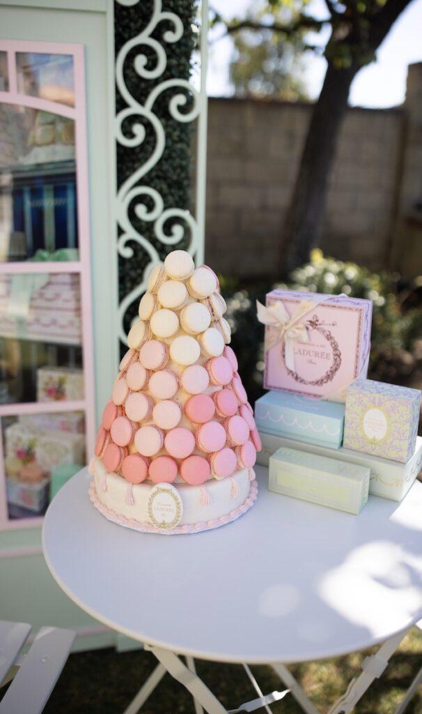 Laduree Macaron Tower Cake + Dessert Table from a Parisian Cafe Birthday Party on Kara's Party Ideas | KarasPartyIdeas.com