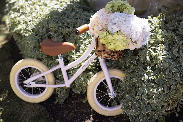 Little Bicycle with Flower Basket from a Parisian Cafe Birthday Party on Kara's Party Ideas | KarasPartyIdeas.com