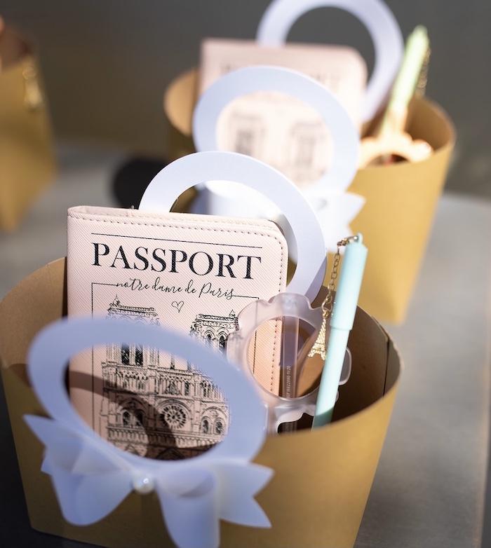 Passport Favors from a Parisian Cafe Birthday Party on Kara's Party Ideas | KarasPartyIdeas.com