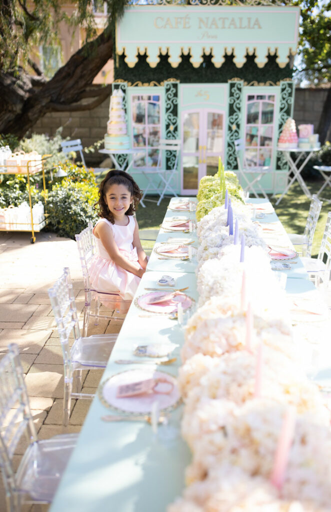 Kid Table from a Parisian Cafe Birthday Party on Kara's Party Ideas | KarasPartyIdeas.com