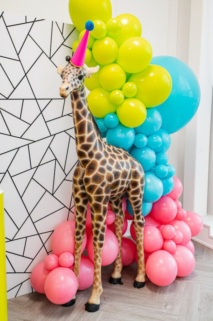 Giant Giraffe Prop from a Party Like an Animal Birthday Party on Kara's Party Ideas | KarasPartyIdeas.com