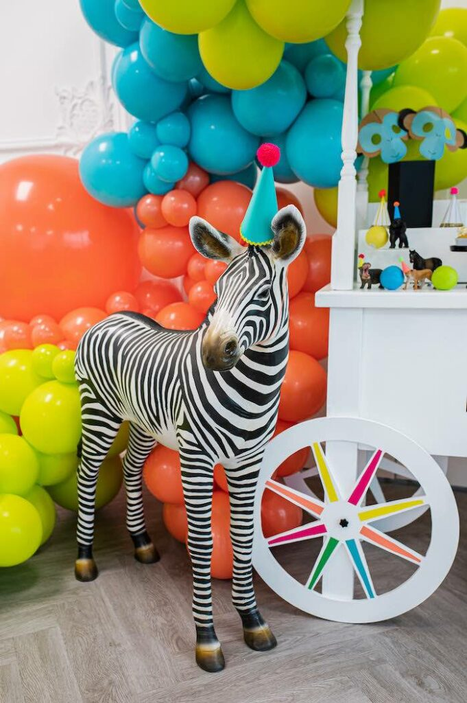 Life Size Zebra Prop from a Party Like an Animal Birthday Party on Kara's Party Ideas | KarasPartyIdeas.com