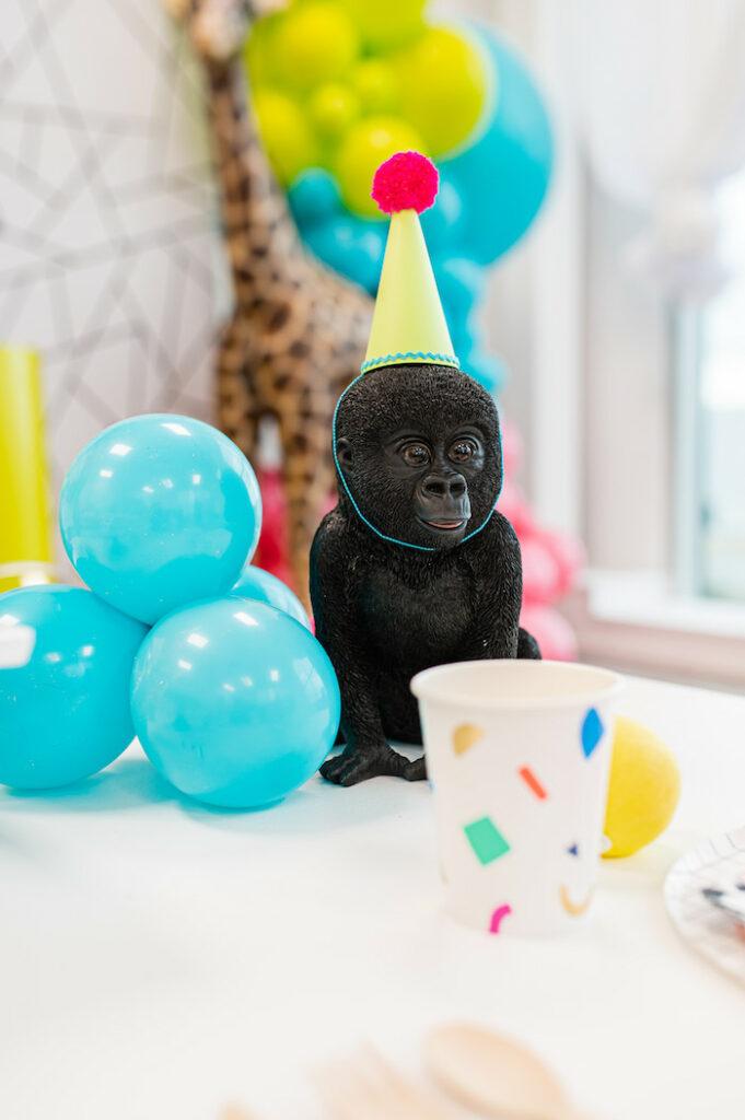 Gorilla + Balloon Centerpiece from a Party Like an Animal Birthday Party on Kara's Party Ideas | KarasPartyIdeas.com