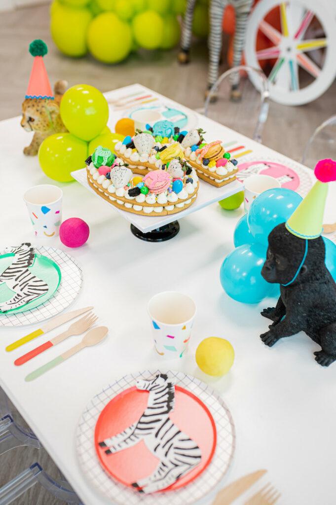 Kid Table from a Party Like an Animal Birthday Party on Kara's Party Ideas | KarasPartyIdeas.com