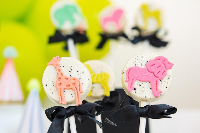 Colorful Safari Animal Oreo Pops from a Party Like an Animal Birthday Party on Kara's Party Ideas | KarasPartyIdeas.com