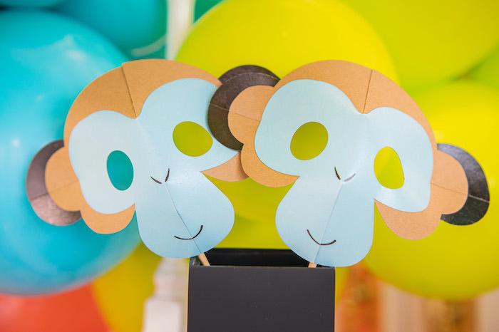 Monkey Masks from a Party Like an Animal Birthday Party on Kara's Party Ideas | KarasPartyIdeas.com