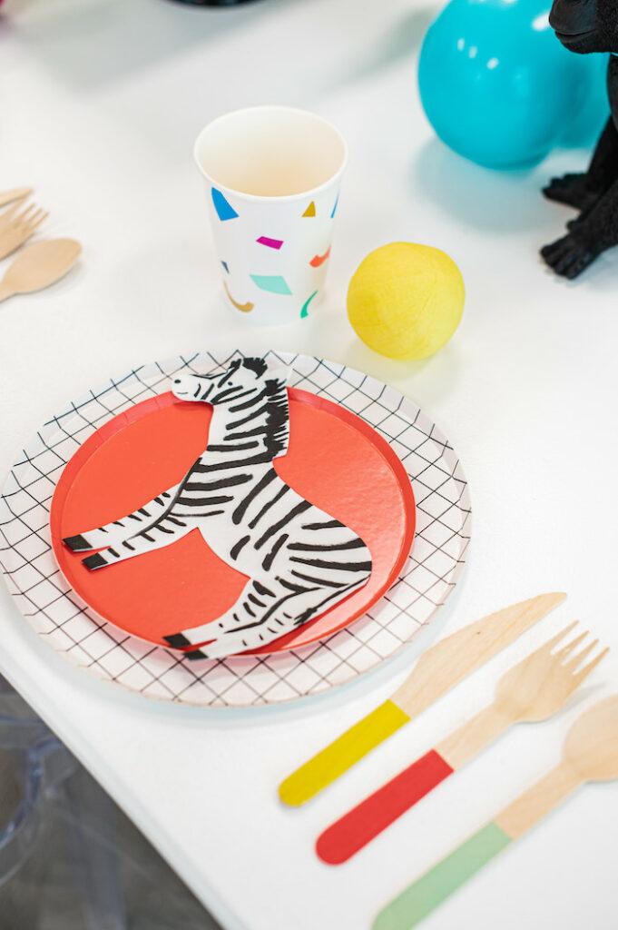 Modern Zebra Table Setting from a Party Like an Animal Birthday Party on Kara's Party Ideas | KarasPartyIdeas.com