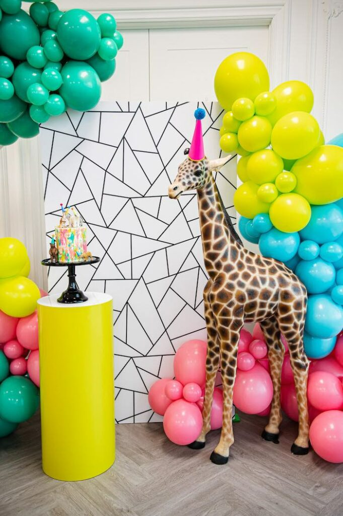 Cake Pedestal + Backdrop from a Party Like an Animal Birthday Party on Kara's Party Ideas | KarasPartyIdeas.com