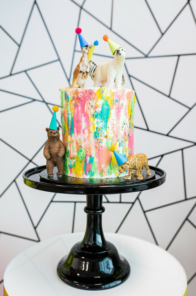 Colorful Animal Cake from a Party Like an Animal Birthday Party on Kara's Party Ideas | KarasPartyIdeas.com