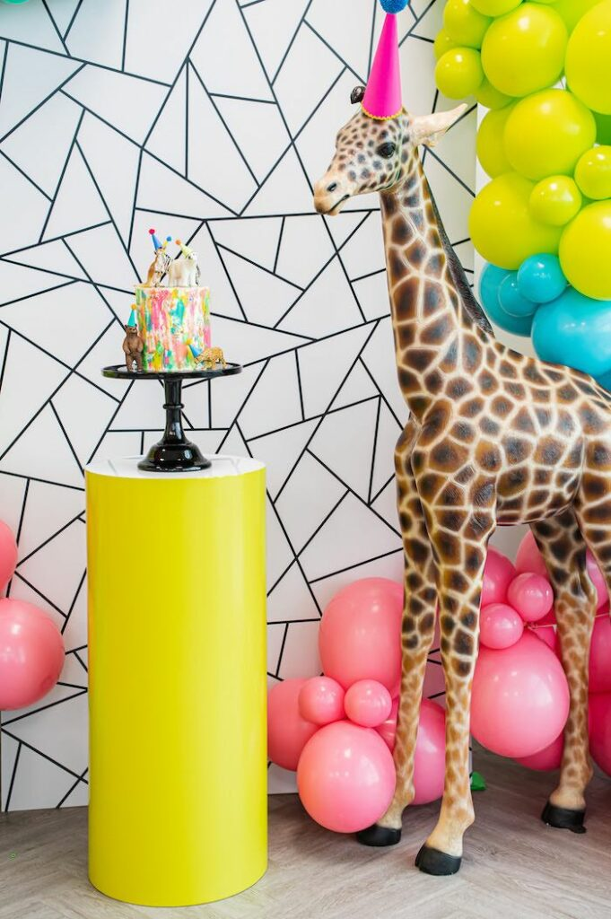 Modern Giraffe Cake Pedestal from a Party Like an Animal Birthday Party on Kara's Party Ideas | KarasPartyIdeas.com
