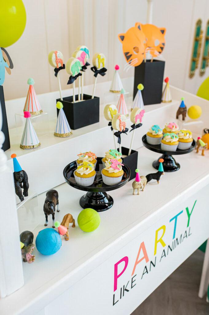 Dessert Table from a Party Like an Animal Birthday Party on Kara's Party Ideas | KarasPartyIdeas.com