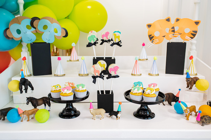 Colorful Wild Animal Dessert Table from a Party Like an Animal Birthday Party on Kara's Party Ideas | KarasPartyIdeas.com