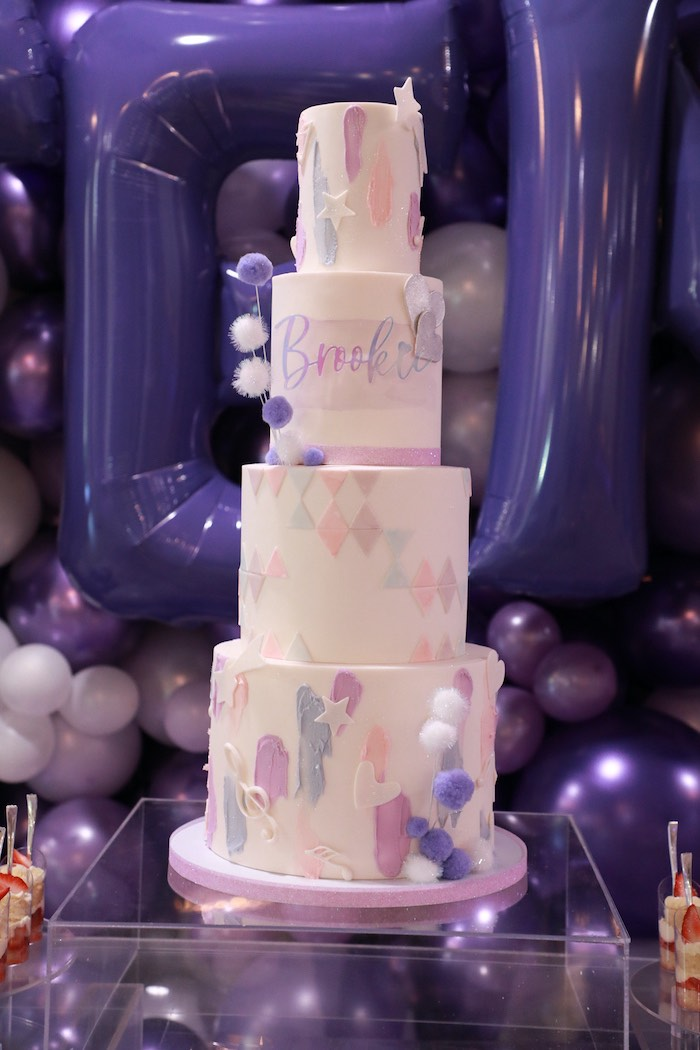 Pretty in Purple-inspired Birthday Cake from a Pretty in Purple Dance Party on Kara's Party Ideas   KarasPartyIdeas.com (20)