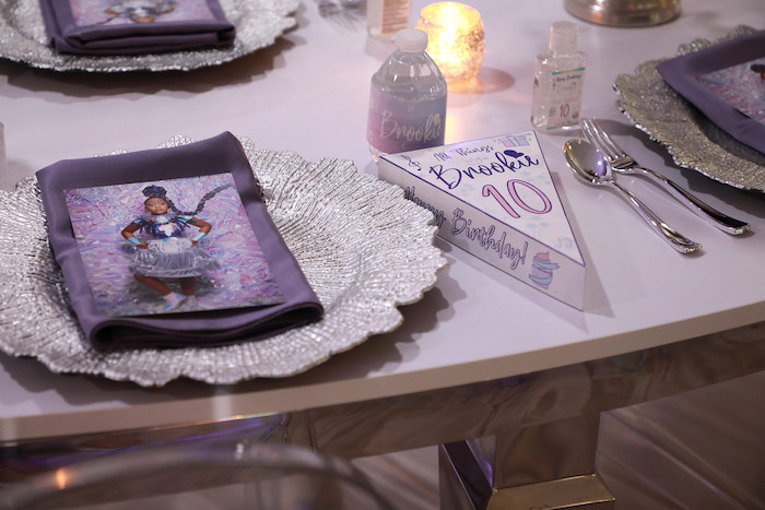 Custom Purple + Silver Guest Table Setting from a Pretty in Purple Dance Party on Kara's Party Ideas   KarasPartyIdeas.com (19)