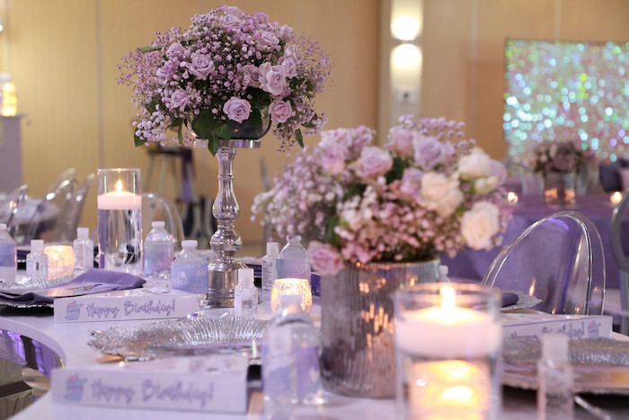 Purple + Silver Guest Table Detail from a Pretty in Purple Dance Party on Kara's Party Ideas   KarasPartyIdeas.com (15)