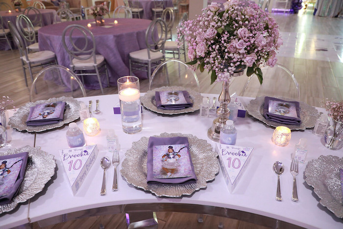 Purple + Silver Guest Table Detail from a Pretty in Purple Dance Party on Kara's Party Ideas   KarasPartyIdeas.com (14)