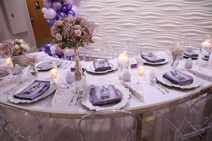 Purple + Silver Guest Table Detail from a Pretty in Purple Dance Party on Kara's Party Ideas   KarasPartyIdeas.com (13)