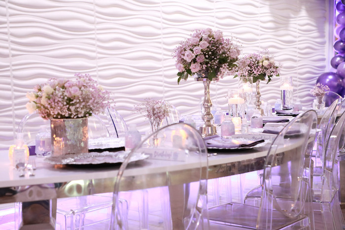 Purple + Silver Guest Table from a Pretty in Purple Dance Party on Kara's Party Ideas   KarasPartyIdeas.com (8)