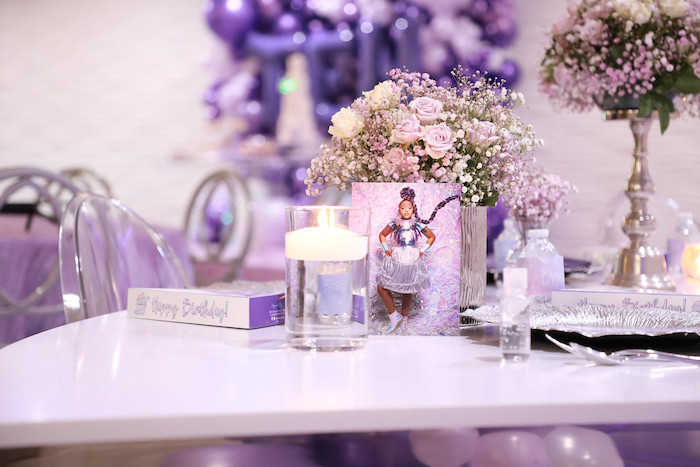 Purple + Silver Guest Table Detail from a Pretty in Purple Dance Party on Kara's Party Ideas   KarasPartyIdeas.com (6)