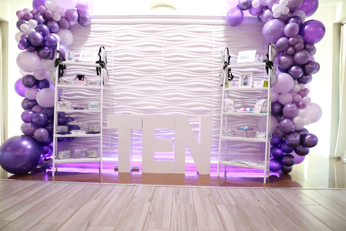 Purple + White Favor Shelves from a Pretty in Purple Dance Party on Kara's Party Ideas   KarasPartyIdeas.com (26)