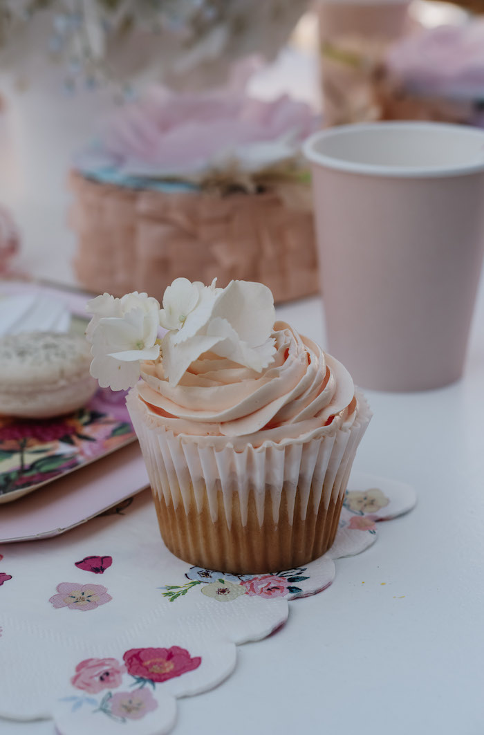 White Flower-topped Cupcake from a Spring Fling Party on Kara's Party Ideas | KarasPartyIdeas.com (17)