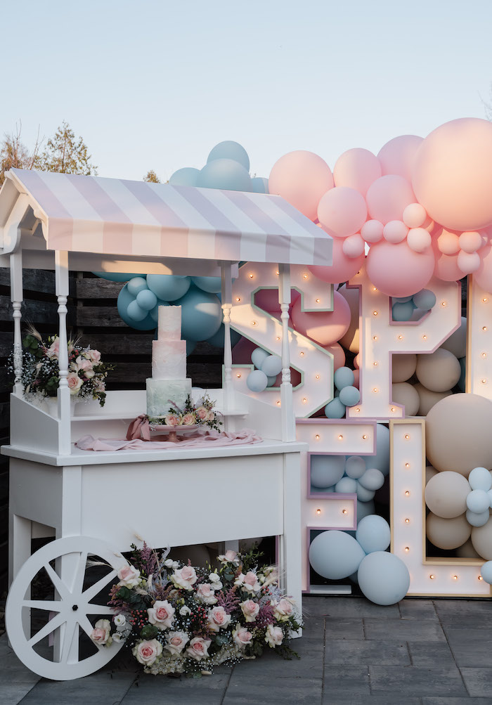 Simplistic Spring-inspired Dessert Cart from a Spring Fling Party on Kara's Party Ideas | KarasPartyIdeas.com (10)
