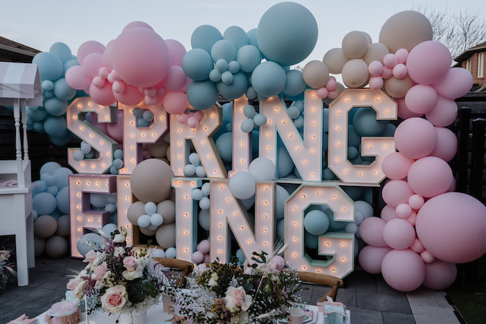 Spring Fling Marquee Light + Balloon Backdrop from a Spring Fling Party on Kara's Party Ideas | KarasPartyIdeas.com (8)