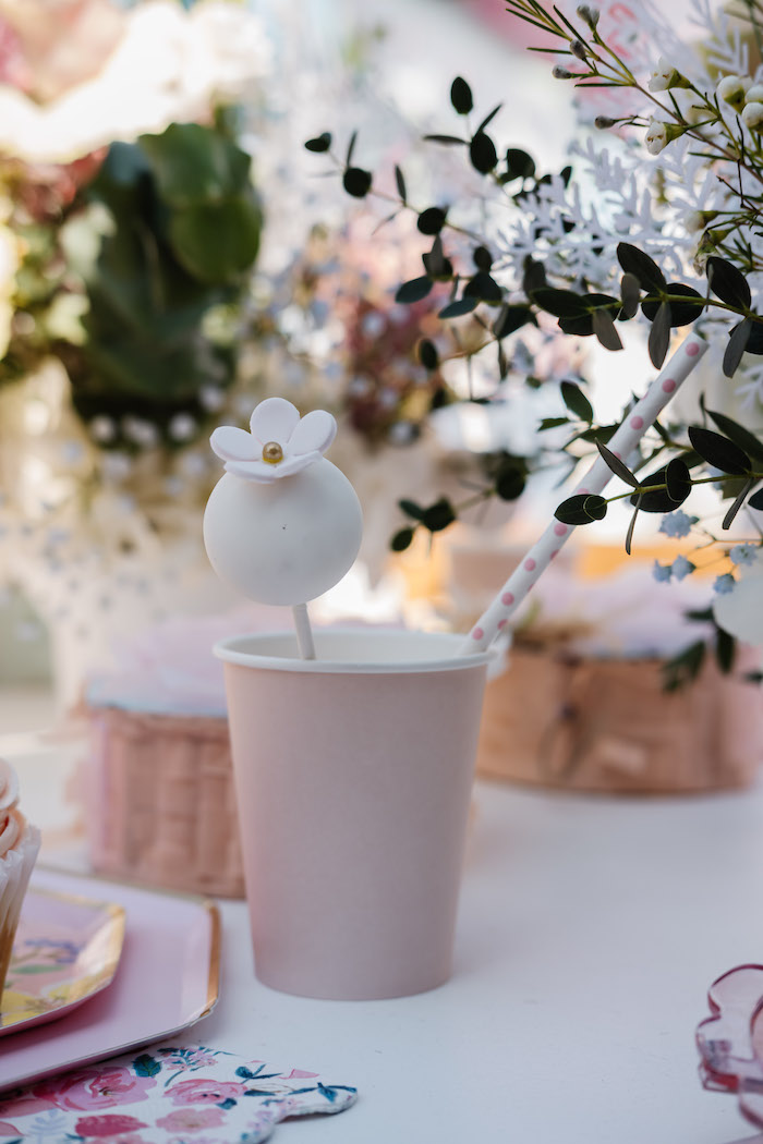 Blush Cup with Flower Cake Pop from a Spring Fling Party on Kara's Party Ideas | KarasPartyIdeas.com (26)