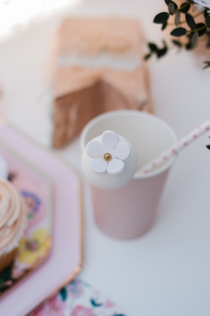 Blush Cup with Flower Cake Pop from a Spring Fling Party on Kara's Party Ideas | KarasPartyIdeas.com (21)